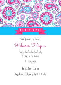 Paisley Shower Invitations by LittleLawsPrints on Etsy, $25.95