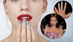 Miley Cyrus Fashion monogram nails bu nails inc Miley Cyrus Vma, Miley Cyrus Style, Monogram Nails, Nail Polish Colors, Polish Nails, Nails Inc, You Nailed It, Septum Ring, Manicure