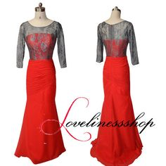New arrival red chiffon evening dress grey lace long sleeve prom dress mermaid floor length long party dress