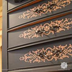 Vintage Decor Diy Decorating DIY Projects with Painted Pattern - Micah Panel Furniture Stencils - Royal Design Studio - Our Micah Classic Panel Paint Furniture, Furniture Projects, Furniture Making, Furniture Makeover, Home Furniture, Modern Furniture, Furniture Design, Cheap Furniture, Discount Furniture