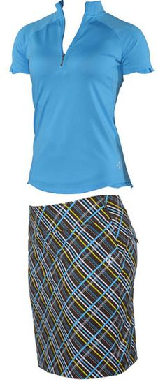 by JoFit Ladies Golf Outfits (Shirt & Skort) - Ibiza (Tile Blue) - When you want to compete and appear charming at the same time, this Jofit Ibiza outfit is the unique and fun style you're looking for. On my wish list. Golf Attire, Golf Outfit, Ibiza Outfits, Ladies Golf Bags, Golf Club Grips, Perfect Golf, Golf Fashion, Fashion Men, Play Golf