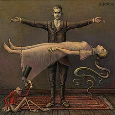 Michael Hutter es un pintor de surrealismo oscuro o macabro