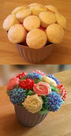 Cupcake bouquet - I like the idea of attaching the cupcakes to the form before you frost them. Food Cakes, Cupcake Recipes, Dessert Recipes, Decoration Patisserie, Cupcake Cookies, Giant Cupcake Cakes, Cupcake Piping, Diy Cupcake, Cupcake Display