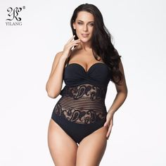 One Piece Swimsuit 2017 Plus Size Swimwear Women Vintage Retro Lace Push Up Bathing Suit Beach Wear Swimming Suit For Women 6XL