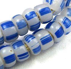"Old RARE Milk White w Blue Stripes Small Venetian Glass African Trade Beads 23""   eBay"