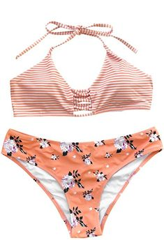 20aa898506 Cupshe Fashion Women s Stripe Top Floral Printing Bottom Halter Padding Two Piece  Swimsuits Beach Bathing Suit