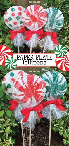 You won't believe how easy and fun it is to make these giant paper plate lollipops for Christmas. They are ADORABLE! Super cute as a garden Christmas decoration or line your driveway with them! They cost less than a dollar each to make! Have fun with your kids making some of these paper plate lollipops to decorate your home and garden the year. #christmas #decoration #garden #outside #easy #holiday
