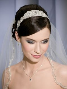wedding veils | ... bridal veil with rhinestones headband | Womens Bridal Headpieces