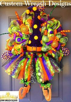 Lilmaddy Witch Hat and Skirt Halloween Wreath - Halloween Wreath - Witch Wreath - Pre Order 2019 Halloween Deluxe Wreath - Halloween Wreaths Halloween Witch Wreath, Halloween Mesh Wreaths, Scarecrow Wreath, Halloween Door Decorations, Halloween Crafts, Halloween Ideas, Halloween Stuff, Holiday Decorations, Halloween Magic