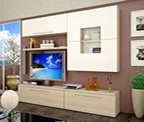 Ensemble Meuble TV Moderne Chêne Clair Et Blanc Laqué MAZE - Sofamobili meuble tv pour idees de deco de cuisine