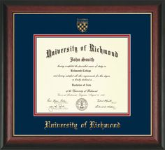 University of Richmond Diploma Frame-Rosewood Gold-w/UR Seal-Navy/Red – Professional Framing Company