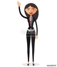 Vector: Cheerful young asian businesswoman waving her hand vector flat cartoon illustration.
