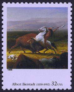 1998 Four Centuries of American Art Series - Albert Bierstadt - The Last of the Buffalo - 5 Unused US Postage Stamps - Item No. Buffalo Art, Stamp World, Albert Bierstadt, Love Stamps, Vintage Stamps, Art Series, Stamp Collecting, Picture Design, American Art