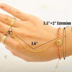 Slave Bracelet// Rustic Orange Seed Beads Bracelet, Gypsy Coin, Ball Chain, Bracelet. $20.25, via Etsy.