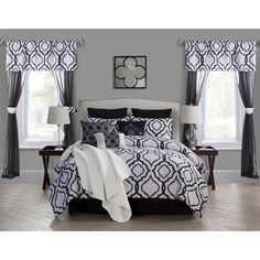 Transform your bedroom into your resting sanctuary with a modern, new look with the Savoy 22pc Comforter Set. Available in two color options, the Savoy is complete with every accessory your bedding décor will need.