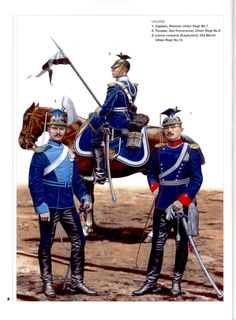 Prussian uhlans of the Franco-Prussian war (1870-1) 1 Captain of the Rhenish 7th Uhlans 2 Trooper of the 9th Pomeranian Uhlan regiment 3 Lance-corporal of the 16th Old March Uhlan regiment