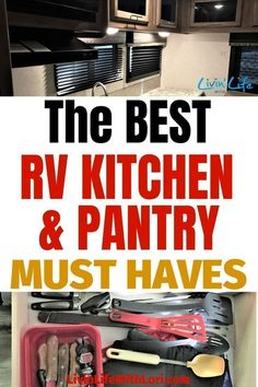 Here are the BEST RV Kitchen and Pantry Must Haves we take every time we travel in our RV. These RV Kitchen and Pantry items will help you cook delicious meals in no time! Camping Hacks, Camping Diy, Camping Must Haves, Travel Trailer Camping, Rv Hacks, Camping Supplies, Camping Meals, Family Camping, Tent Camping