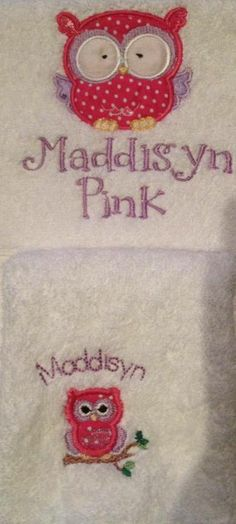Kids/Baby Gift Embroidered personalized towel and face washer set - Purple cat embroidery - $40 -owl applique https://www.facebook.com/LyndalsPersonalizedEmbroidery