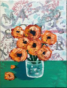 STAMPED WALLPAPER FLORAL VASE – Val Braun Art joyful warm orange flowers Simply Stamps, Acrylic Flowers, Orange Flowers, Joyful, Backdrops, Glass Vase, Mixed Media, Colours, Shapes