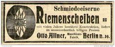 Original-Werbung/ Anzeige 1910 - SCHMIEDEEISERNE RIEMENSCHEIBEN / OTTO ALLNER BERLIN  - ca. 100 x 40 mm