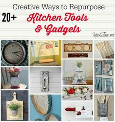 Repurpose old kitchen tools as unique home decor. See many ideas at Farmhouse Friday via Knick of Time.