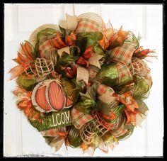 Fall Deco Mesh Wreath by CreativeDesignsJMH on Etsy Fall Deco Mesh, Deco Mesh Wreaths, Fall Wreaths, Burlap Wreaths, Wooden Pumpkins, Autumn Theme, Summer Wreath, All The Colors, Fall Decor