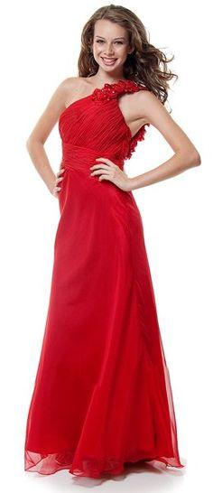 Elegant Red Dress One Shoulder Rose Petal Strap Long Greek Gown $164.99