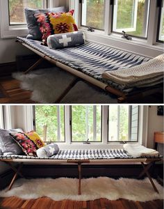 Cot. Thinking about a good, folding wood camp cot with big pillows in lieu of a couch. Space efficient.