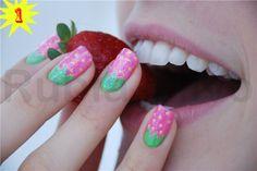 Very cute strawberry inspired nail art.