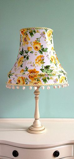1950s Style Shabby Chic Lampshade with Yellow Roses