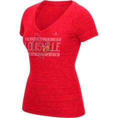 adidas Women's Louisville Cardinal Red Distress V-Neck T-Shirt, Size: Medium, Team