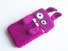 Samsung Galaxy S3 Mini cell phone case #Bunny #Wool #Crochet Pouch #Sleeve #Fuchsia  #Smartphone case