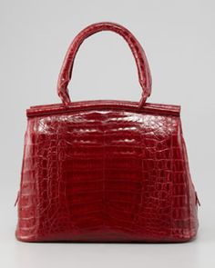 L06PH Nancy Gonzalez Small Crocodile Bar Tote Bag, Red