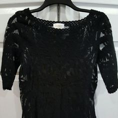 Black lace top Like new, beautiful thuck black lace top. See through, would need to wear w/ a camisole. Not much stretch Laundry by Shelli Segal Tops Blouses