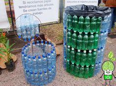 Lixeira feita de garrafas de água