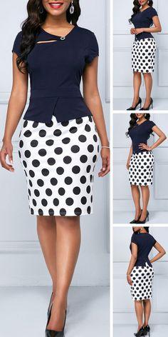 Cap Sleeve Polka Dot Print Navy Blue Sheath Dress - Es Tutorial and Ideas African Print Fashion, African Fashion Dresses, Fashion Outfits, Outfits Dress, Fasion, Dress Fashion, Pretty Dresses, Sexy Dresses, Dresses For Work