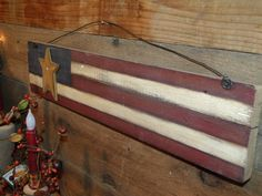 Americana Patriotic Barnwood Flag Decor by TheCraftCabin on Etsy Americana Crafts, Patriotic Crafts, Patriotic Decorations, Primitive Crafts, Primitive Patterns, July Crafts, Primitive Country, Barn Wood Crafts, Old Barn Wood
