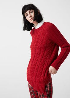 Pull-over combiné maille Knitwear Fashion, Knit Fashion, Red Sweaters, Sweaters For Women, Mango France, Sustainable Clothing, Lace Knitting, Street Chic, Sweater Weather