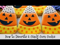 Candy Corn cookies are easy and tasty and perfect for your Halloween party or trick-or-treaters! Add a quick stenciled Jack-o-Lantern face to give this desig. Candy Corn Cookies, Fall Cookies, Iced Cookies, Cute Cookies, Royal Icing Cookies, Pumpkin Cookies, Thanksgiving Cookies, Christmas Cookies, Halloween Cookie Cutters