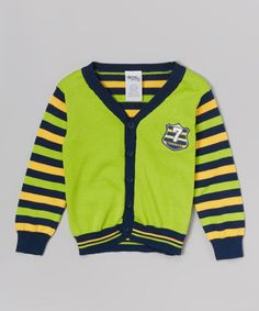 Green & Yellow Stripe Cardigan - Toddler & Boys (not 77 Kids, but it has the number 7 on it)