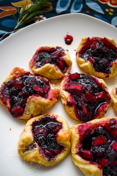 A simple, low-sugar, delicious little puff pastry tart.  It's made with Pacific dewberries (trailing blackberries) and heirloom Ashmead's Kernel apples, but any number of delicious fruits can be used to great effect.