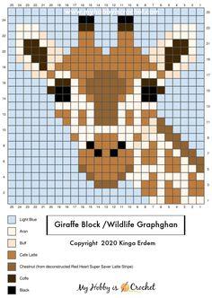 Crochet C2c Pattern, Pixel Crochet, Crochet Cross, Crochet Stitches, Cross Stitch Cards, Cross Stitch Animals, Cross Stitching, Giraffe Crochet, Giraffe Pattern