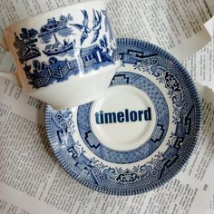 Timelord and Companion Dr Who themed Blue teacup by geekdetails, $55.00