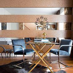 Toronto Interior Design Group - dens/libraries/offices - Brno, Flat Bar, Chairs, teal, blue, velvet, mirrored, walls, sunburst, glass-top, sawhorse, desk, cowhide, rug, gold desk, x desk, x base desk, blue velvet chairs, flat bar chairs, blue flat bar chairs, mirrored walls,