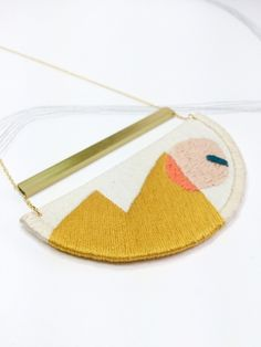 MAHLER - Linen, Thread and Gold Necklace - Mustard £45.00