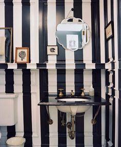 black & white striped bathroom