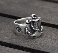 Nautical Anchor ring in Sterling Silver, FIRST MATE - men and women ring - wedding, engagement. on Wanelo