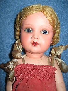 Hi everyone,here is a pretty vintage/antique doll by A S K Adam Shrayer of Poland. She is a super light weight plastic/celluloid. See her markings A S K on her back & neck. Her hair looks to be in its