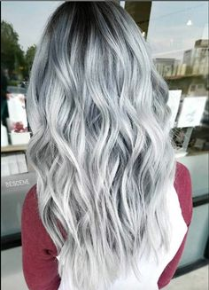 Edgy and intimidating, the silver hair trend has all the cool girl vibes. Here, 17 gray and silver hair inspiration photos that will have you running to your colorist immediately. Silver Grey Hair, Black And Grey Hair, Silver Wigs, Black And Silver Ombre, Silver Hair Tumblr, Purple Grey Hair, Short Silver Hair, Silver Blonde, Blue Lace