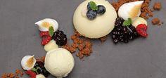 Banana mousse, miso-salted vanilla ice cream, white sesame crème anglais, seafoam crunch, fresh berries.